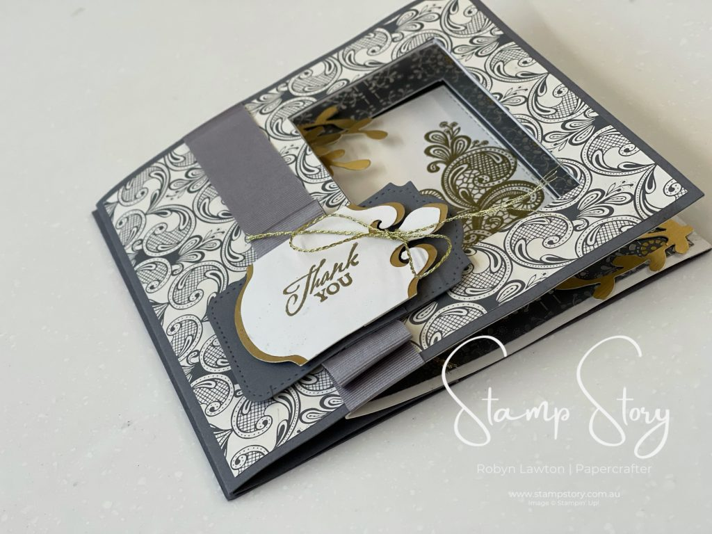 Peek-a-boo slider card with Elegantly Said Suite