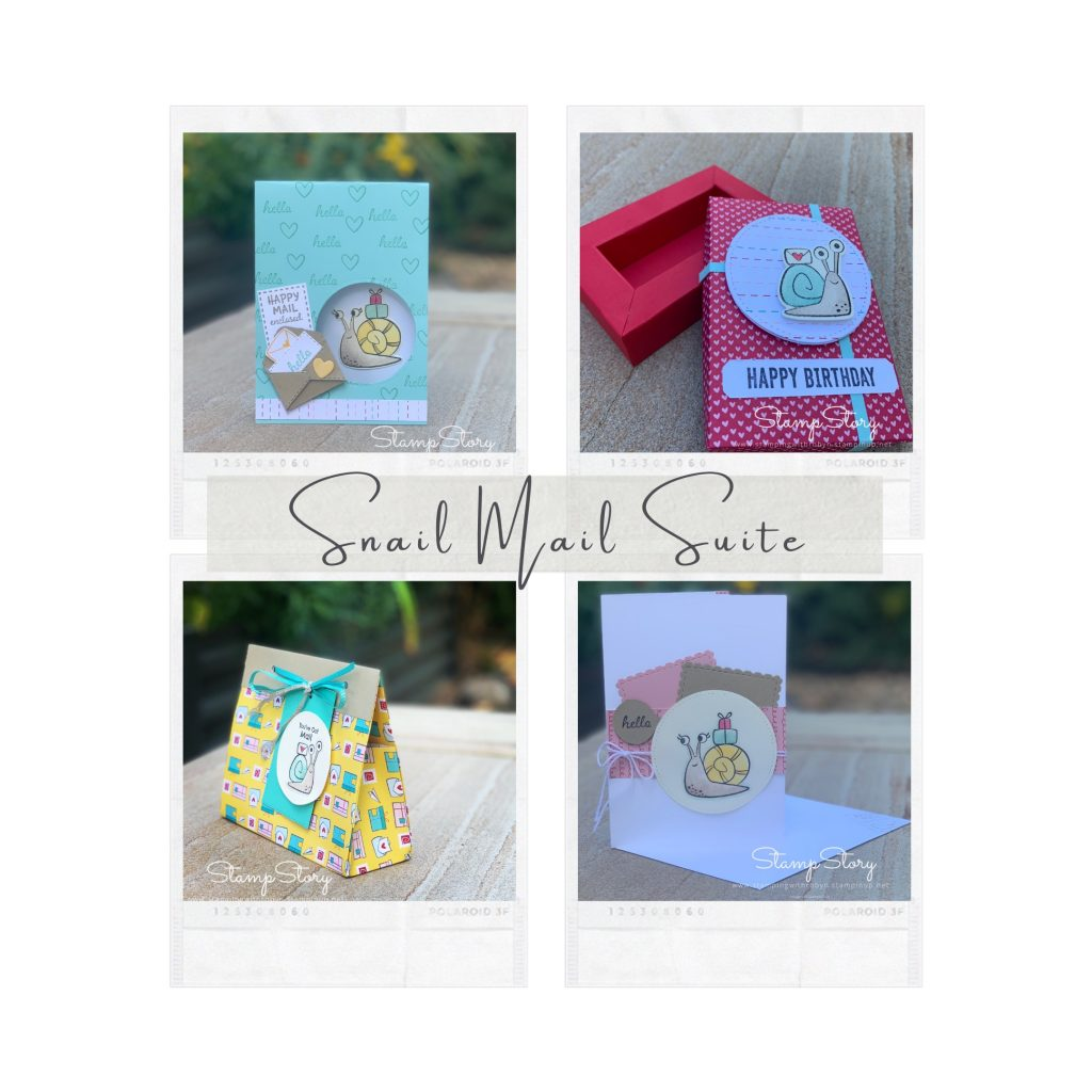 Collection of cards and packaging made with Stampin Up Snail Mail stamps and dies