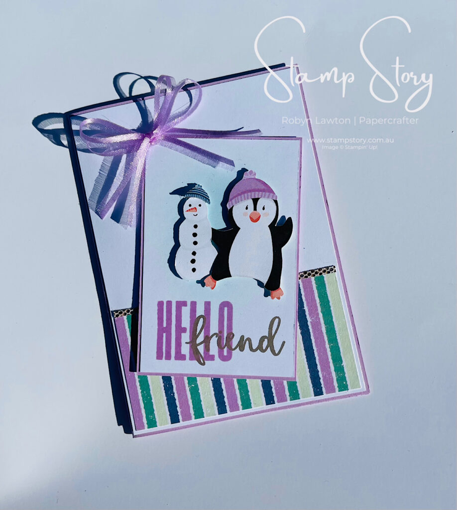 stamp Story card made with Penguin Playmates and Be Dazzling papers